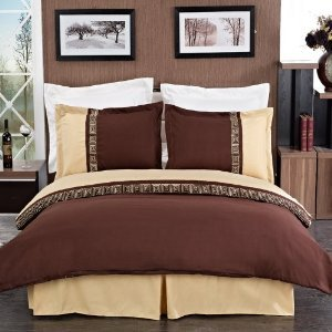 sheetsnthings 4PC Full Size bedding set Including Embroidered Astrid Gold with Chocolate 3pcs Duvet cover set+ 1PC Down Alternative comforter at Sears.com