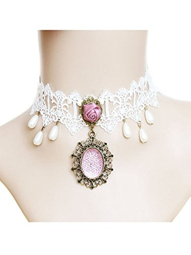 Jelinda Vintage Hollow White Princess Lace Gothic Lolita Pendants Choker Collar Necklace