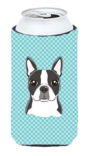 Checkerboard Blue Boston Terrier Tall Boy Koozie Hugger Bb1141Tbc