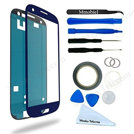Samsung Galaxy S3 Blue Display Touchscreen replacement kit 12 pieces incl tools / pre cut Sticker / cleaning cloth / suction cup / wire MMOBIEL (Display For S3 compare prices)