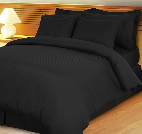 Royal Hotel 1500 Tc 3 Pc King / California King Size Duvet Set Stripe Black By Jay'S Home Goods front-376490