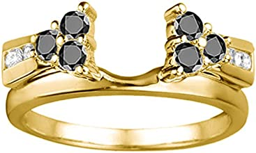 10k Gold Anniversary Ring Wrap Enhancer with Black And White Diamonds 05 ct twt