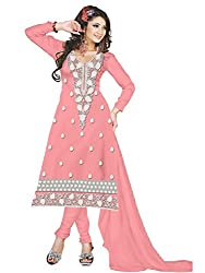 RockChin Fashions Pink embroidered Dress Material