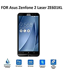 Kalgidhar eCom 0.3mm, 2.5D Curved Edge, Anti Explosion Tempered Glass for Asus ZenFone 2 Laser (ZE601KL) 6 inch [Cutout for Proximity Sensor], 9H Hardness, Anti-Scratch Shatterproof, Bubble-free, Reduce Fingerprint, No Rainbow, Oleophobic Coating comes with Alcohol wet cloth pad & clean micro fibre Dry cloth for Asus ZenFone 2 Laser (ZE601KL) 6 inch