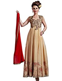 Latest Aryan Fashion Designer Heavy Beige Partywear Gown