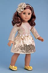 Simply Beautiful - Gold sparkling holiday dress with decorative head piece and gold shoes - 18 Inch American Girl Doll Clothes