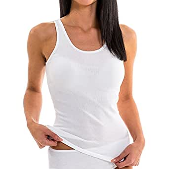 HERMKO 1310 Damen Unterhemd aus reiner Baumwolle in verschiedenen Farben, Farbe:weiß;Größe:32/34 (XS)