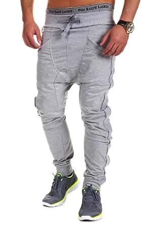 MT Styles - 378 - Pantalon de jogging zippé coupe ample - Gris - M