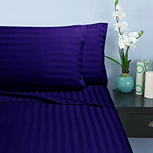 1500 Thread Count Queen 4pc Bed Sheet Set Microfiber weave Deep Pocket Plum
