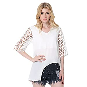 Chiffon Blouses For Women Irregular 3/4 Sleeve V-neck Shirts Tops (US 6-8, White)