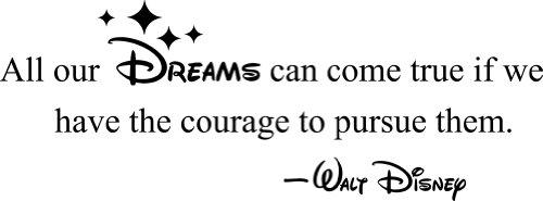 All our Dreams can come true pursue them Decorative Vinyl Wall Quote, Black