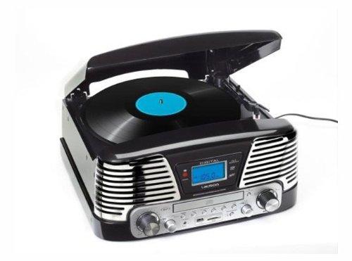 Retro Design Nostalgie Kompaktanlage Musikanlage Plattenspieler Radio CD MP3 Player USB SD-Card Aufnahme Funktion Fernbedienung Schallplattenspieler integr. Verstärker (Bass-Boost-System)