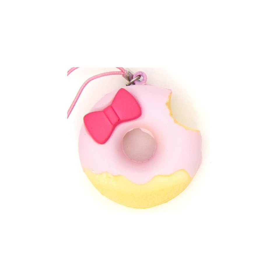 pink Hello Kitty donut squishy charm with ribbon