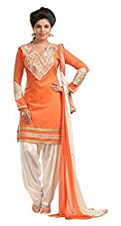 Cherry Creation Women's Cotton Unstitched Dress Material (Orange and White)