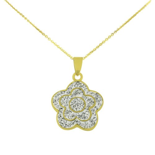 Stainless Steel Gold Tone Flower Pendant with Clear Crystal Cubic Zirconia & Chain