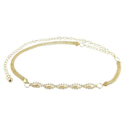 Allegra K Women Gold Tone Beaded Faux Decor Jewelry Lobster Clasp Buckle Waist Chain