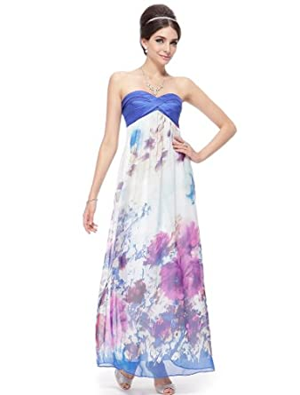 Ever Pretty Strapless Ruched Bust Floral Printed Maxi