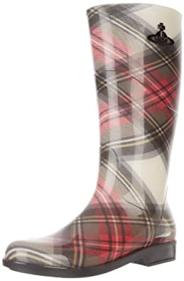 Vivienne Westwood Women's Exhibition Rain Boots, Red/Brown/Green, 40 EU