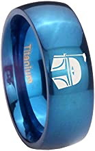 Blue IP Titanium Star Wars Boba Fett Sci Fi Science Dome Engraved Ring  6MM 8MM  Size 4 to 13