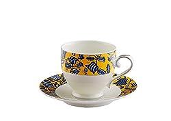 Hitkari Potteries Cup and Saucer Set, 12-Pieces, White (Design Sun)