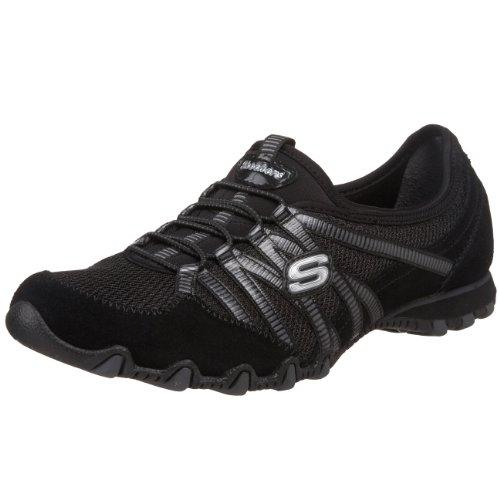 Skechers Women's Hot-Ticket Slip-On Fashion Sneaker,Black/Charcoal,8 M US