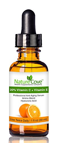 Vitamin C Serum ★ 20% Vitamin C + Vitamin E + Amino + Hyaluronic Acid Serum ★ Salon Strength Hyaluronic Acid That Neutralizes Free Radicals, Leaving Your Skin Radiant And Youthful ★ Complete Anti Aging Formula Fully Guaranteed By Naturecove