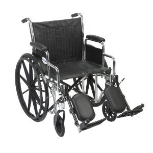 Drive Medical Chrome Sport Wheelchair with Various Arm Styles and Front Rigging Options, Black and Chrome, 16