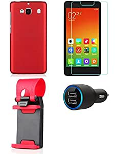 NIROSHA Tempered Glass Screen Guard Cover Case Car Charger Mobile Holder for Xiaomi Mi2 - Combo