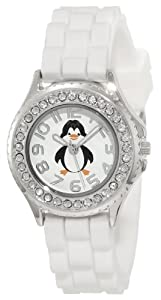 Frenzy Kids' FR376 White Rubber Band Penguin Watch
