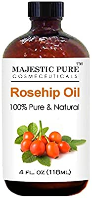 Rosehip Oil for Face, Nails, Hair and Skin From Majestic Pure - 100% Pure, Organic Cold Pressed Premium Rose Hip Seed Oil, 4 oz ¡