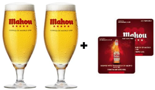 mahou-two-third-pint-toughened-glasses-plus-mahou-beer-mats-set-of-2