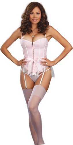Plus Size Sexy Pink Lace Overlay Corset Lingerie Set Discount