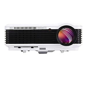 Eug 3600Lumens 1080p, vidéo projecteur LCD, 1280x 800résolution native Home Cinéma Cinéma Projecteur, lampe longue durée de vie jusqu'à 50000heures, avec port HDMI VGA USB AV TV, HD Ready, 3500: 1contrast- Noir & Blanc