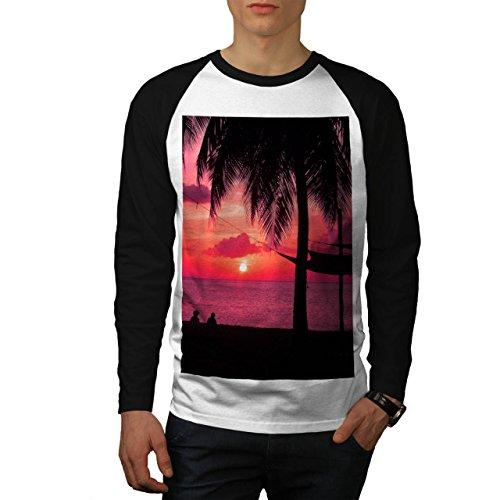 Romantisch-Sonnenuntergang-Strand-Palme-Herren-NEU-Wei-Schwarz-rmel-XXL-Baseball-lange-rmel-T-Shirt-Wellcoda