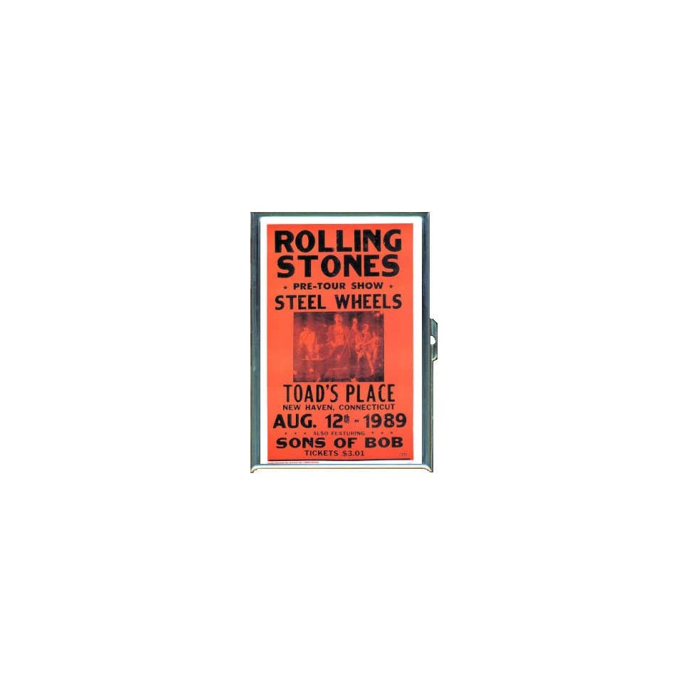 ROLLING STONES STEEL WHEELS CONCERT ID CREDIT CARD WALLET CIGARETTE CASE COMPACT MIRROR