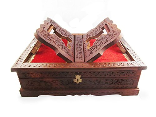 Onlineshoppee Beautifully hand carved foldable holy book stand and box