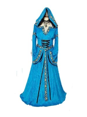 Deluxe Blue Renaissance Medieval Gown Maid Marion Fancy