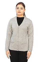 Romano Basic Grey 100% Wool Warm Winter Sweater Cardigan For Women