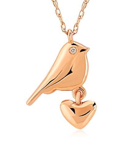 Divas Diamond Conjunto de cadena y colgante Diamond Gold Heart Bird