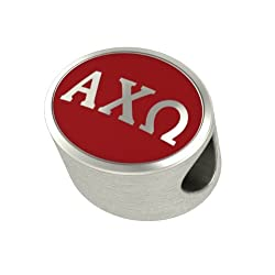 Alpha Chi Omega Enameled Sorority Bead Charm Fits Most European Style Bracelets. Officially Licensed High Quality in Stock for Fast Shipping