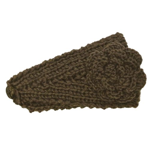 Wrapables Hand Knit Winter Warmth Floral Headband, Brown