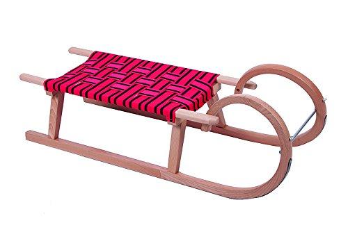 Zweisitzer Schlitten Hörner Rodel Holzrodel 110 cm inkl. Zugband