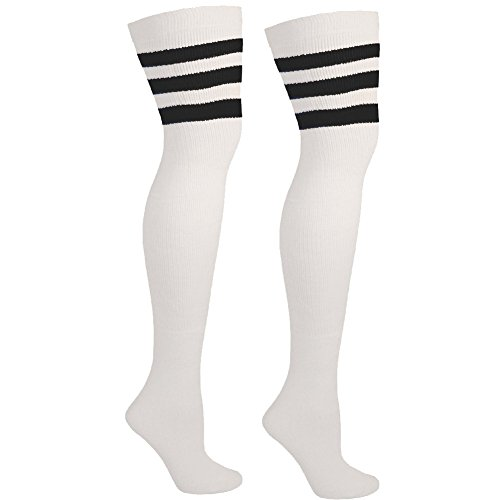Thigh High Tube Socks with Stripes | Over the Knee Socks for Outfits + Costumes