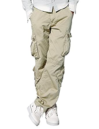 Match Men's Retro Casual Cargo Trousers #3357(Off white,29W x 31L)