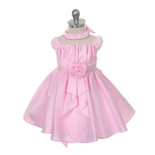 Rain Kids Baby Girls 12M Pink Satin Jewel Ruffle Pageant Dress front-705239