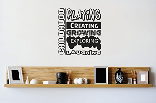 Design with Vinyl 3 Zzz 208 Decor Item CHILDHOOD : Playing Creating Growing Exploring Laughing Daycare Kids School Quote Wall Decal Sticker, 20 x 20-Inch, Black