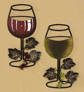 Wall Metal Wine Art - Red Wine / White Wine Glass Set of 2 - Home Bar Wine Decor - Great Gift for Wine Lover!