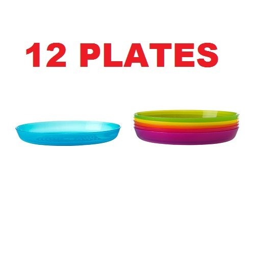 Ikea Kalas 501.929.59 BPA-Free Plate, Assorted Colors, 6-Pack (2, DESIGN 1)