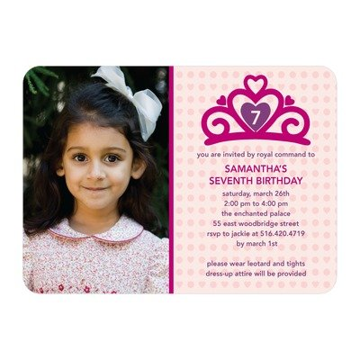 Birthday Invitations - Princess Tiara - Tea Rose