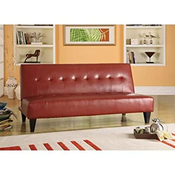 Adjustable Futon Couch Sofa, Faux Leather Bycast , Button-Tufted, Red